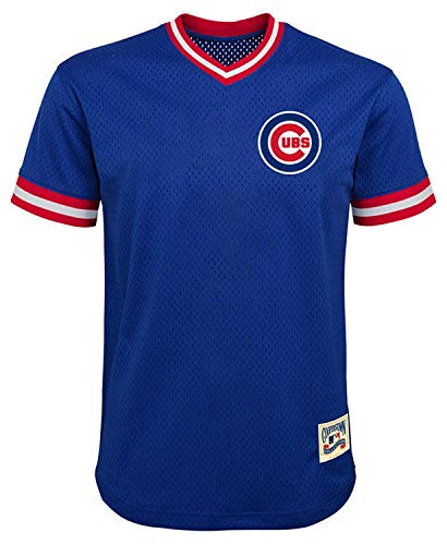 (MLB Youth 8-20 Mesh Team Color Cooperstown V-Neck Jersey (X-Large 18/20, Chicago Cubs Blue))