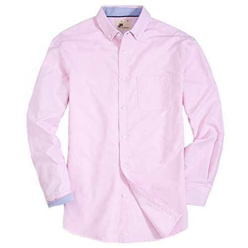 Mens Dress Shirts Oxford Long Sleeve Washed Casual Button Down Shirt (Pink,XLarge) -