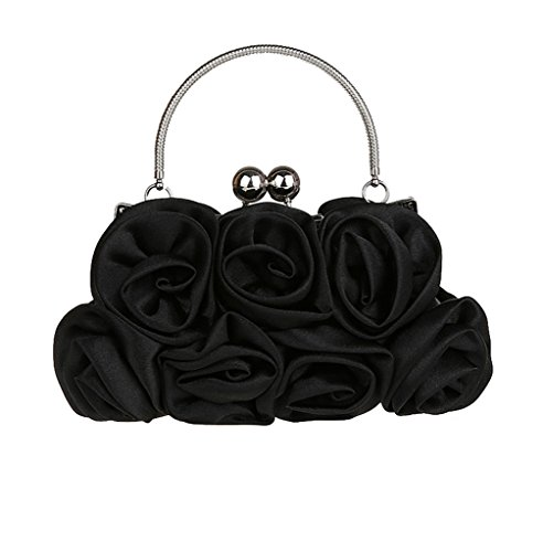 Satin Wedding Rose Party Clutch Lovely Purse Bridal Flower Evening Handbag Silk Black pFxy4d7