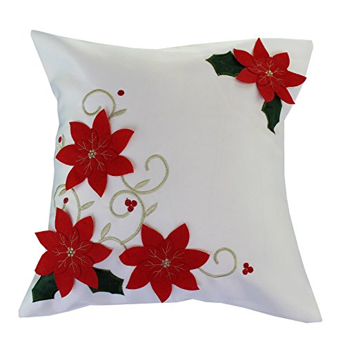 Violet Linen Decorative Christmas Poinsettias with Embroidery Design Cushion Cover, 18