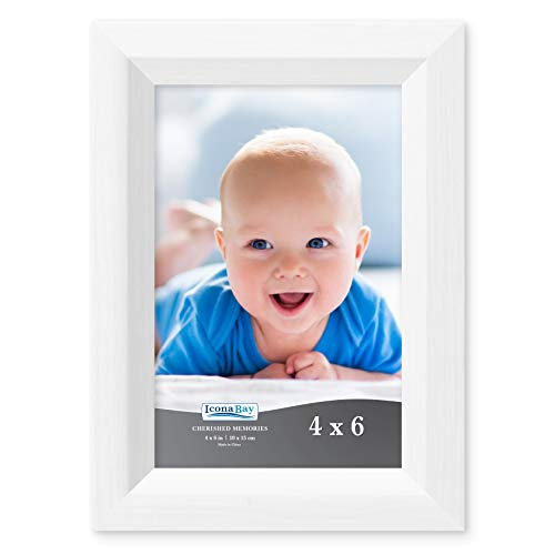 Icona Bay 4x6 Picture Frame (1 Pack, Aspen White Wood Finish), Photo Frame 4 x 6, Composite Wood Frame for Walls or Tables, Set of 1 Cherished Memories Collection ()