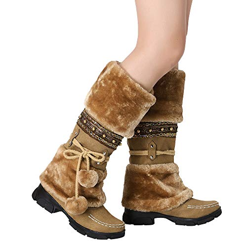Outtop(TM) Women High-Tube Martain Boots Lady Suede Hairball Round Toe Square Heel Winter Warm Slip-On Snow Boots (US:9, Brown)