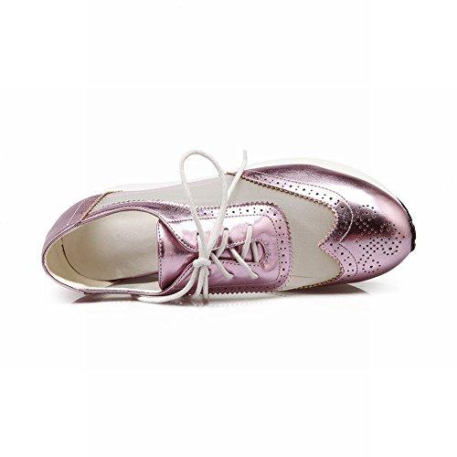 Spring Latasa Summer Wedge purplish Oxford Fashion Shoes Inside Womens Lace up pink Mesh qASOg0q