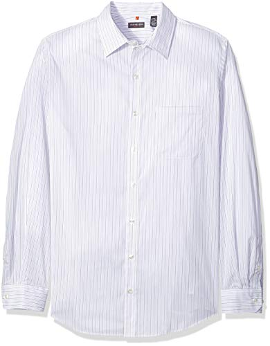 Van Heusen Men's Size Big and Tall Traveler Stretch Long Sleeve Button Down Blue/White/Purple Shirt, Bright Stripe, Large