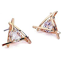 Carfeny Rose Gold Stud Earrings Triangle Shaped CZ Earrings for Women Expertly Made of Sparkling Starlight Round Cut Cubic Zirconia, ❤Gift for Her❤