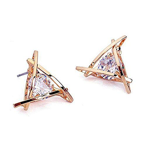 Carfeny Rose Gold Stud Earrings Triangle Shaped CZ Earrings for Women Expertly Made of Sparkling Starlight Round Cut Cubic Zirconia,...