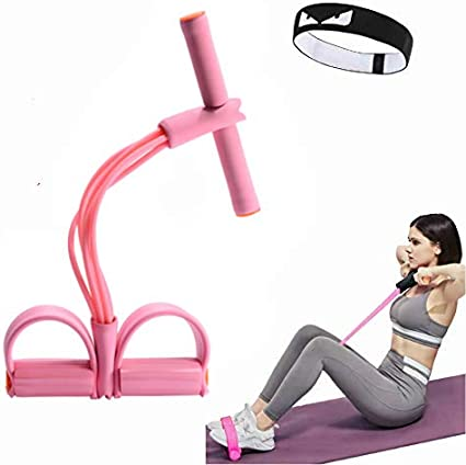 Global Sales Store Resistance Pedal Bands Foot Pedal Tension Rope Tummy Trainer 4 Tubes Fitness Pedal Exerciser Pull Rope Sit-up Bodybuilding Expander for Pilates,Fitness,Yoga and other Training