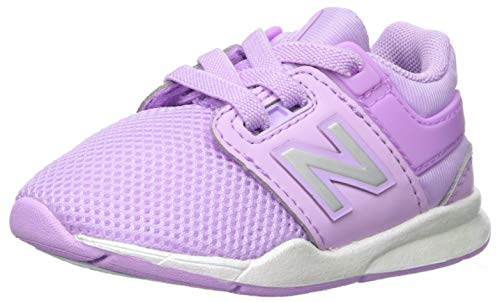 New Balance Girls' 247v2 Bungee Sneaker, Dark Violet/White, 7.5 W US Toddler