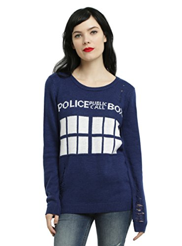Doctor Who TARDIS Distressed Girls Sweater (Hot Topic Doctor Who)