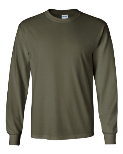 Gildan 6.1 oz. Ultra Cotton Long-Sleeve T-Shirt, Military Green, L