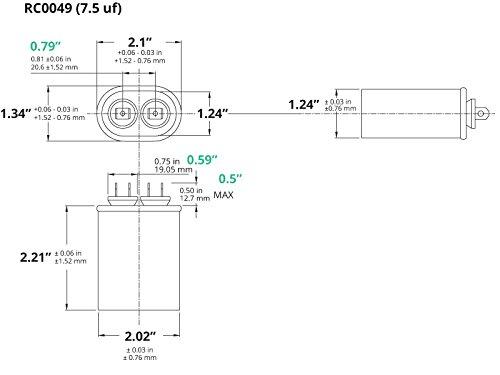 TEMCo 25 LOT Motor Run Capacitor RC0071-7.5 mfd uf 370/440 V VAC volt 7.5 uf Oval HVAC TEMCo AC Electric by Temco (Image #2)