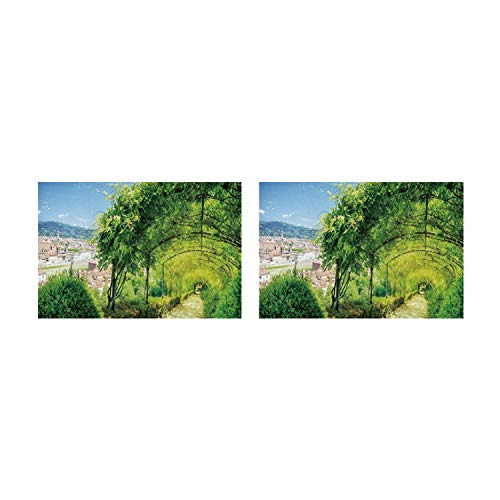 C COABALLA Italian Decor Utility Placemat,Boboli Gardens in Florence Italy Famous Natural Landmark Tourist Attraction for Home,Two Pieces 14