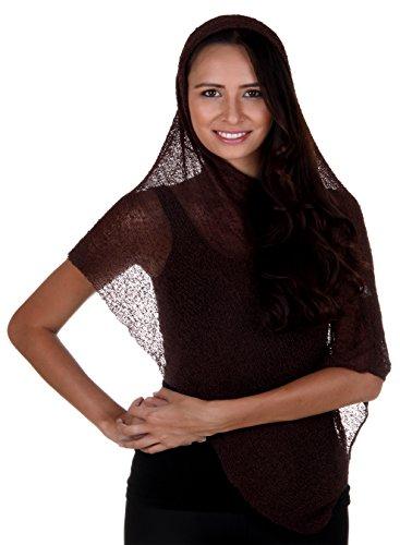 Diseño de Bali para mujer Poncho ligero Bolero Sheer Cover up chal marrón
