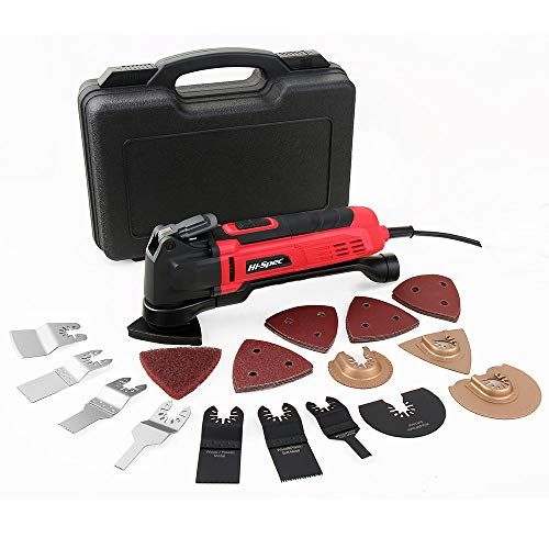 (Hi-Spec 2.5A (300w) Oscillating Multi-Tool with Keyless Tool Changing, 38pc Accessory Kit and Variable Speed Switch for Sanding, Grinding, Cutting, Removing Grout and Stains - Power Tool)