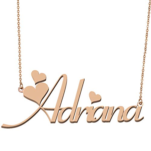 Aoloshow Customized Custom Name Necklace Personalized - Custom Made Adriana Necklace Initial Monogrammed Gift for Womens Girls