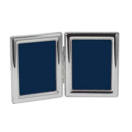 Cunill Silver Beaded Double Frame for 2 by 3-Inch Photographs, Sterling Silver
