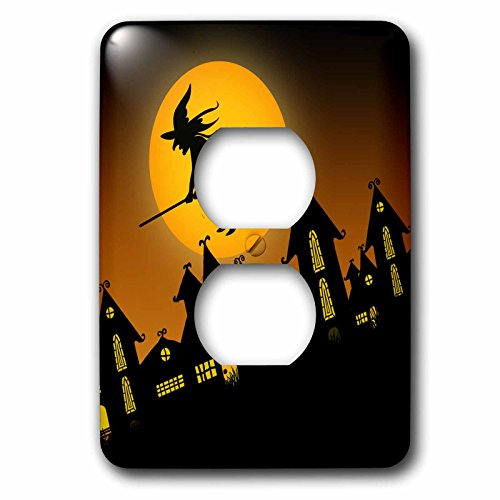 3dRose lsp_172236_6 Spooky Halloween Town With Flying Witch Outlet Cover -
