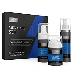 Anjou Men Care Kit for Father's Day, 1 x Face Cleansing Foam, 1 x After Shave Gel and 1 x Cologne Body Spray for Men, Skincare Set for Sensitive Skin
