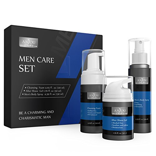 Anjou Men Care Kit, 1 x Face Cleansing Foam, 1 x After Shave Gel and 1 x Cologne Body Spray for Men, Skincare Set for Sensitive Skin