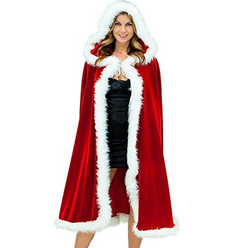 Deluxe Classic Mrs Claus Costumes (Kalin Women Deluxe Mrs Santa Claus Velvet Christmas Hooded Cape Cloak Costume)