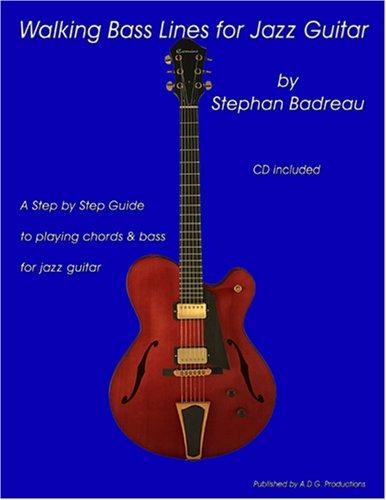 Walking Bass Lines for Jazz Guitar book/audio CD [Stephan Badreau] (Tapa Blanda)