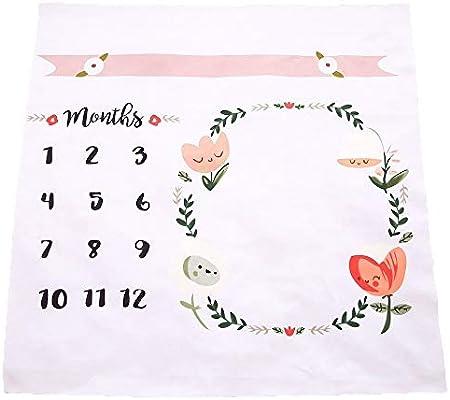 Manta con estampado floral para bebé, a modo de fondo fotográfico, con diseño de corona con tabla de meses para recién nacido