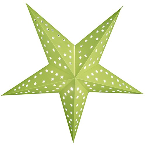 """Quasimoon PaperLanternStore.com 24"""" Solid Lime Green Cut-Out Paper Star Lantern, Hanging Decoration"""