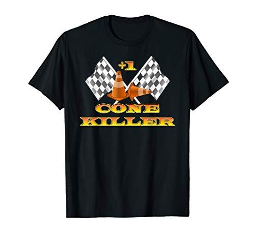 Autocross Racing Cone Killer +1 Checkered Flag T-Shirt Race