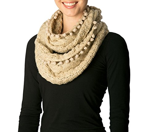 - Apparelism Women's Winter Plaid Knitted Infinity Loop Scarf with Pom Pom Fringe(7255-Beige)