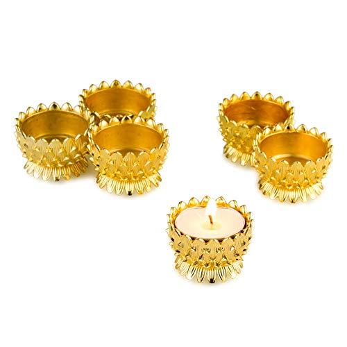 Sziqiqi 6 Pcs/Set Ghee Lamp Holder, Lotus Design Oil Lamp, Buddhism Craft Ornaments, Votive Candle Holders (Candle Holder 5#)