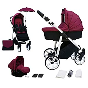 Skyline 3-in-1 Combi Pushchair with Aluminium Frame, Baby Cot, Sports Buggy Attachment and Baby Car Seat (ISOFIX)