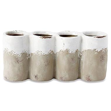 Mud Pie Eathenware Multi-vase White Crackle Glaze Exterior