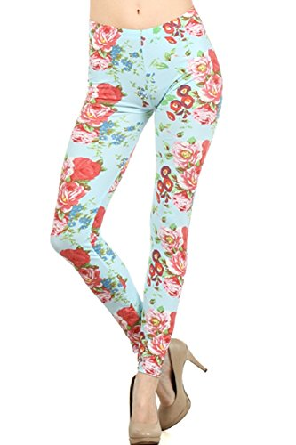 Women's Sweet Blue Floral Fashion Leggings