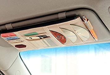 Auto Visier Lagerung Autoschl/üssel Stift Auto Auto Visier Organizer Auto Sonnenblende Organizer Kopfh/örer Sonnenbrille Wechselgeld Visier Organizer Taschen f/ür Karte Rot Handy