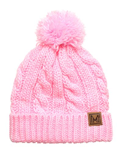 - MIRMARU Winter Oversized Cable Knitted Pom Pom Beanie Hat with Fleece Lining. (Light Pink)