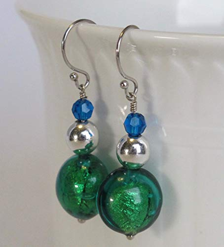 Green Venetian Murano Glass Solid 14k Gold Drop & Dangle Earrings