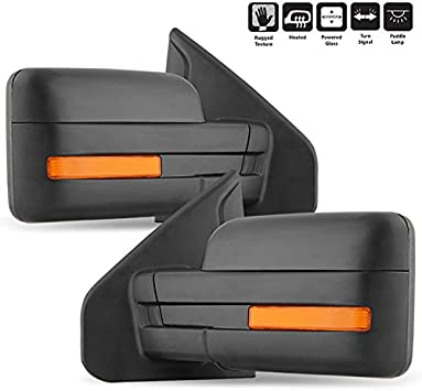 07-14 Ford F150 Pickup Towing Power Heated Tow Mirrors Set Pair Signal puddle