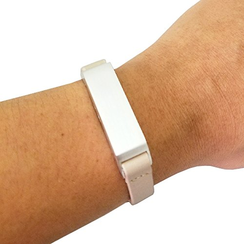 Fitbit Bracelet for Fitbit Flex 2 Fitness Trackers - The KATE Single-Strap Leather Fitbit Bracelet - Alternative to Tory Burch Fitbit (Beige/Silver, - Burch To Similar Tory