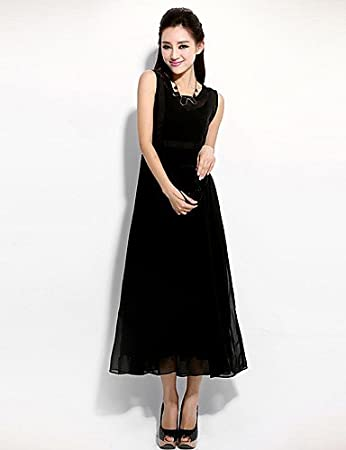 bd4ac4ee690 Hu   Hu Women Trapeze Swing Sexy Evening Solid Color Round Neck Chiffon Maxi  Dress