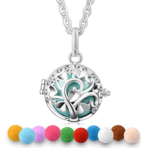 EUDORA Aroma Harmony Bola Pendant Perfume Necklace Fragrant Diffuser 30 inches Chain Silver Plated