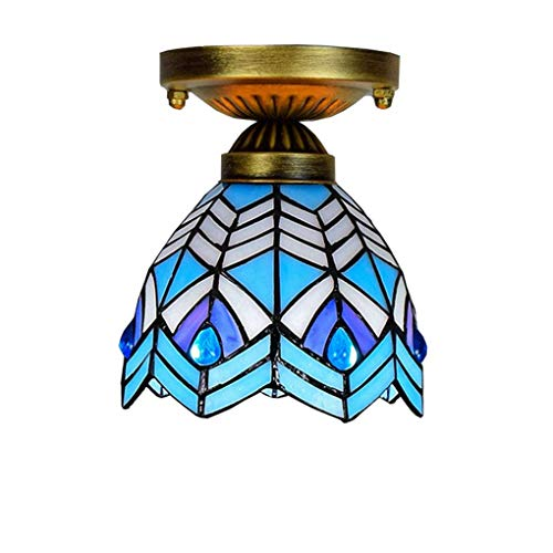 Tiffany Style Ceiling Light/Lamp, 6 inch European Style Creative Stained Glass Ceiling Light/Lamp, Mediterranean Ceiling Spotlights Recessed Spotlights, E27, Max40W, BOSS LV ()