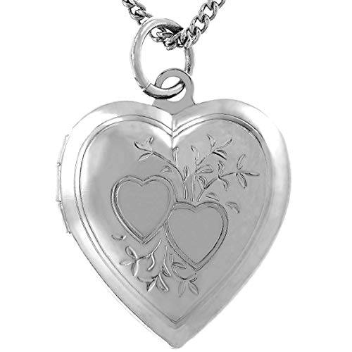 """Lifetime Jewelry Photo Locket for Women and Girls [ Two Hearts ] - 20X More Real 24k Gold Plating Than Other Heart Locket Necklaces That Hold Pictures (White Gold Pendant with 18"""" Chain)"""