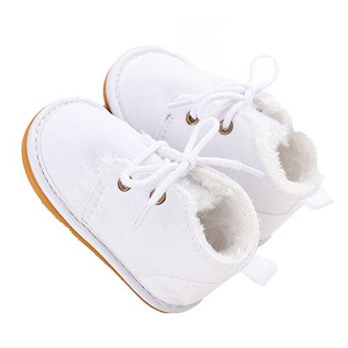 ESTAMICO Baby Shoes Winter Plush Rubber Sole Laces Boots White US 4