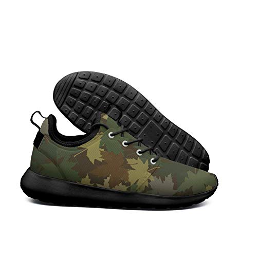 - LOKIJM Army Maple Leaf Black Sneaker Shoes for Mens Low Top Quick-Drying M