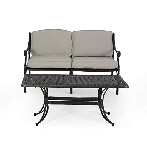Great Deal Furniture Isabel Outdoor Loveseat with Water Resistant Cushions and Cast Aluminum Coffee Table – Light Beige and Antique Copper Finish