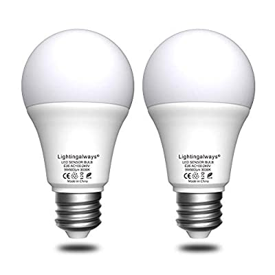 Dusk to Dawn LED Light Bulbs, Light Sensor LED Security Bulbs for Porch, Driveway, Garage, Hallway Lights, Works with Glass Lamp Cover, 9W 600lm Warm White 3000K 2 Packs