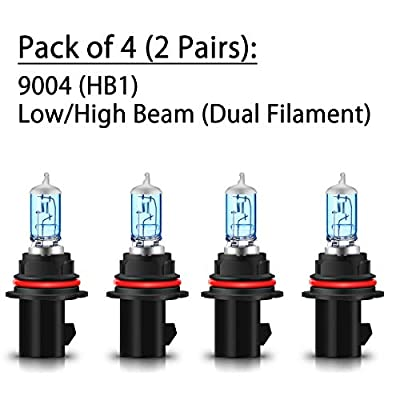 CK Formula (Pack of 4 Pieces) 9004-HB1 65/45W Super Bright White 5000K Xenon Halogen Headlight Bulbs (High/Low Beam) USA: Automotive