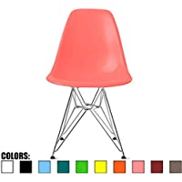 2xhome – Pink - Eames Style Side Chair Chromed Wire Legs Eiffel Legs Dining Room Chair - Lounge Chair No Arm Arms Armless Less Chairs Seats Wooden Wood leg Wire Leg Dowel Leg