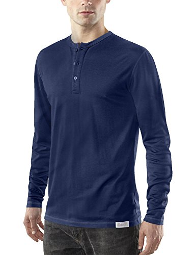 Woolly Clothing Men's Merino Wool Long Sleeve Henley - Everyday Weight - Wicking Breathable Anti-Odor L NVY ()