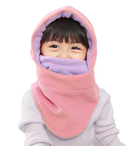 Kids Winter Windproof Cap,Childrens Double Warm Balaclava Face Mask for Cold Weather,Neck Warmer,Adjustable Full Face Cover Hat for Boys Girls,Perfect for Skiing,Cycling(Pink+Purple)